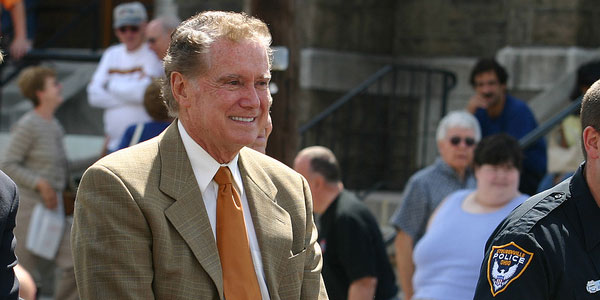 "<div class=""meta ""><span class=""caption-text "">Regis Philbin turns 81 on Aug. 25, 2012. The actor and television personality is known for his role in television shows such as 'Who Wants to Be a Millionaire' and 'LIVE! With Regis and Kelly.'(Pictured: Regis Philbin appears in a photo from the Dean Martin Day Parade which he co-hosted with Lou Holtz in October 2007.) (flickr.com/photos/pernett/)</span></div>"