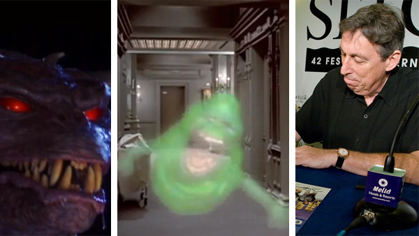 The ghost Slimer, voiced by director Ivan Reitman, appears in the 1984 film 'Ghostbusters.' / Ivan Reitman appears at a 'Ghostbusters' signing event at the 2009 Sitges Film Festival in Spain.