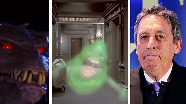 The ghost Slimer, voiced by director Ivan Reitman, appears in the 1984 film 'Ghostbusters.' / Ivan Reitman appears at a press conference for the movie 'Draft Day' in New York on Jan. 31, 2014.