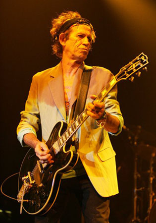 Keith Richards appears in a concert in this photo on The Rolling Stones official Facebook on April 16, 2008.