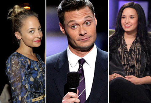 Nicole Richie appears at the I 'Heart' Ronson bowling party at Hollywood's Roosevelt Hotel on June 21, 2011. / Demi Lovato appears in a promotional still for her '20/20' interview in April 2011. / Ryan Seacrest appears on 'American Idol.'