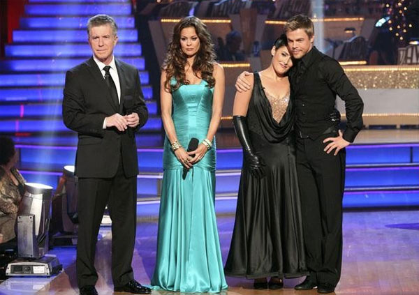 Talk show host and actress Ricki Lake and her partner Derek Hough react to being eliminated on 'Dancing With The Stars: The Results Show' on Tuesday, November 22. Also pictured: Co-hosts Tom Bergeron and Brooke Burke.