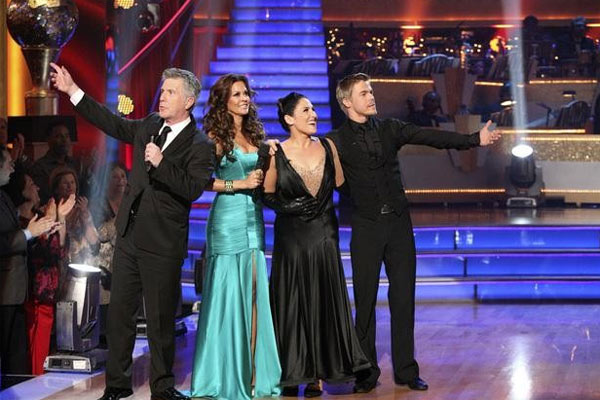 "<div class=""meta image-caption""><div class=""origin-logo origin-image ""><span></span></div><span class=""caption-text"">Talk show host and actress Ricki Lake and her partner Derek Hough react to being eliminated on 'Dancing With The Stars: The Results Show' on Tuesday, November 22. The couple came in third place and received a 30 for their favorite dance, a Tango from week 4. On Monday the pair received 27 out of 30 from the judges for their Cha Cha Cha and 27 out of 30 for their Freestyle dance for a total of 54 out of 60 points. (ABC / Adam Taylor)</span></div>"