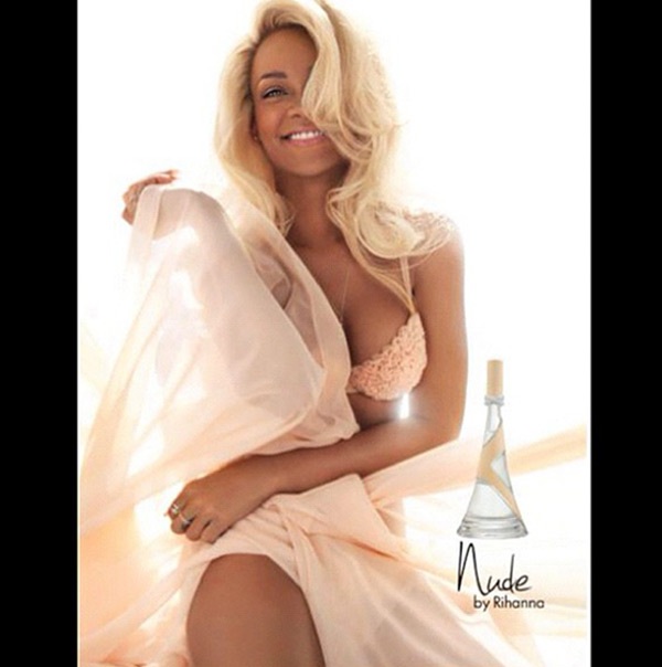 Rihanna appears in an October 2012 ad for her fragrance, Nude. - Provided courtesy of Parlux