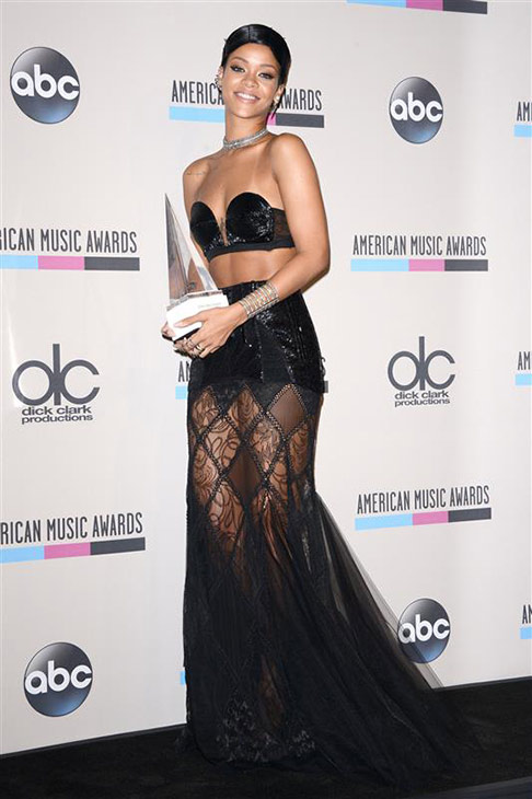 Rihanna appears at the 2013 American Music Awards in Los Angeles on Nov. 24, 2013.