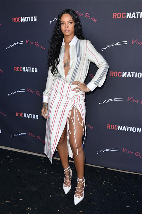Rihanna appears at Roc Nation's 2014 pre-Grammy Awards event in Beverly Hills, California on Jan. 25, 2014.