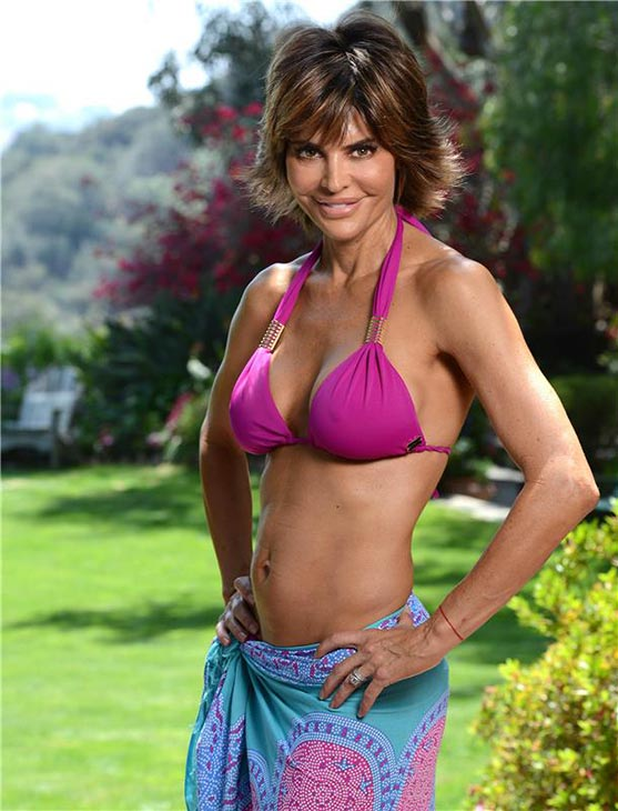 Lisa Rinna poses in a bikini at a house in Beverly Hills, California on May 10, 2013. She turned 50 on July 11.
