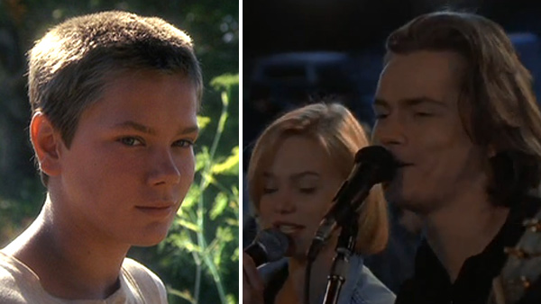 River Phoenix appears as Chris in the 1986 movie 'Stand By Me.' / River Phoenix in a scene from the 1993 film 'The Thing Called Love.'