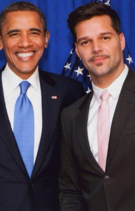 Singer Ricky Martin Tweeted this undated photo of himself with President Barack Obama after he was re-elected on Nov. 6, 2012, saying: &#39;What an amazing night! Love conquers hate! Such an honor @BarackObama Good night every1!&#39; The openly gay Latin pop and Broadway star also Tweeted: &#39;Wins 4 marriage equality in Maine, Maryland, Minnesota and Washington! EQUALITY prevails! #NOH8Worldwide &#40;RT @bouska&#41;&#39; <span class=meta>(twitter.com&#47;ricky_martin&#47;status&#47;266075189417242624&#47;photo&#47;1)</span>