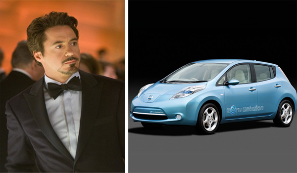 Robert Downey Jr. in a scene from 'Iron Man.'/Nissan Leaf.