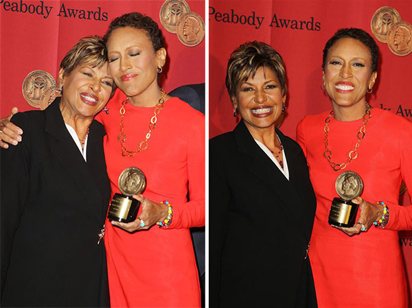 Robin Roberts, co-anchor of ABC&#39;s &#39;Good Morning America,&#39; appears with sister Sally-Ann Roberts at the 72nd annual Peabody Awards at the Waldorf Astoria in New York on May 20, 2013. After Robin was diagnosed with the blood disorder myelodysplastic syndrome &#40;MDS&#41; in 2012 -- a side effect of undergoing treatments for breast cancer years earlier, Sally-Ann donated bone marrow to her, which helped save her life. Robin also underwent chemotherapy. Her treatments and recovery after her transplant was documented on the show. She returned to &#39;GMA&#39; on Feb. 20, 2013. <span class=meta>(Amanda Schwab &#47; Startraksphoto.com)</span>