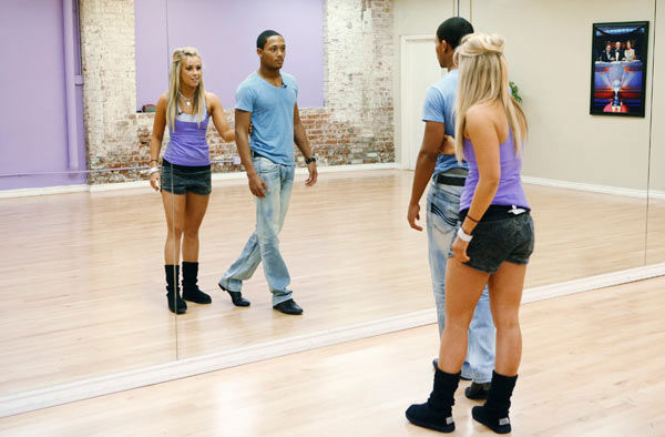 "<div class=""meta image-caption""><div class=""origin-logo origin-image ""><span></span></div><span class=""caption-text"">Romeo, Grammy-winning multi-platinum music artist and his partner Chelsie Hightower practice their moves in front of the mirrors during rehearsal for season 12 of 'Dancing With the Stars,' which premieres on March 21 at 8 p.m. on ABC. (ABC Photo/ Greg Zabilski)</span></div>"