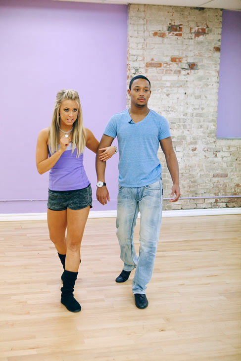 "<div class=""meta ""><span class=""caption-text "">Romeo and his partner Chelsie Hightower practice their steps during rehearsal for season 12 of 'Dancing With the Stars,' which premieres on March 21 at 8 p.m. on ABC. (ABC Photo/ Greg Zabilski)</span></div>"