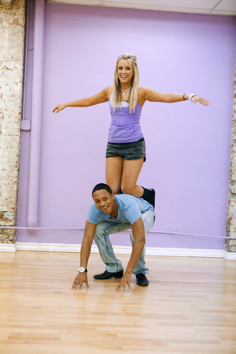 Romeo gives his partner Chelsie Hightower a ride during rehearsal for season 12 of &#39;Dancing With the Stars,&#39; which premieres on March 21 at 8 p.m. on ABC. <span class=meta>(ABC Photo&#47; Greg Zabilski)</span>