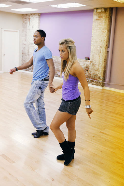 "<div class=""meta ""><span class=""caption-text "">Romeo and his partner Chelsie Hightower practice their knee-dips during rehearsal for season 12 of 'Dancing With the Stars,' which premieres on March 21 at 8 p.m. on ABC. (ABC Photo/ Greg Zabilski)</span></div>"