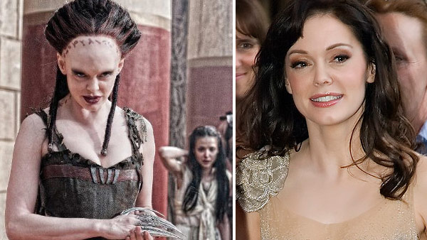 Rose McGowan appears in a scene from the 2011 film 'Conan the Barbarian.' / Rose McGowan appears at the premiere of 'Grindhouse' in Texas in 2006.