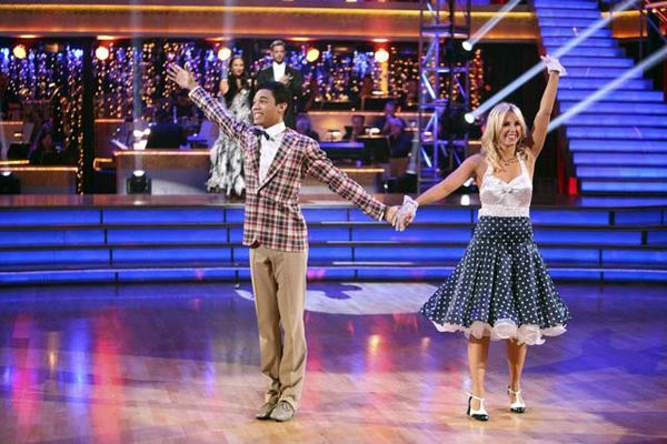 Disney Channel star Roshon Fegan and his partner Chelsie Hightower appear on 'Dancing With The Stars: The Results Show' on Tuesday, May 8, 2012.