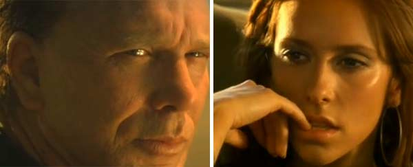 Jennifer Love Hewitt and Mickey Rourke appear in scenes from the 2001 music video 'Hero.'
