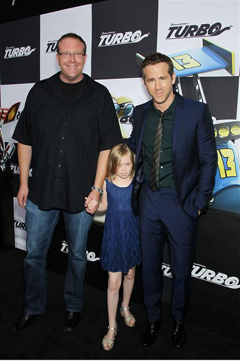"<div class=""meta ""><span class=""caption-text "">Ryan Reynolds appears with his brother and niece at the premiere of 'Turbo' in New York on July 9, 2013. (Marion Curtis / Startraksphoto.com)</span></div>"