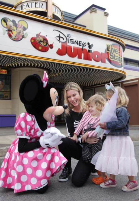 Rebecca Romijn and twin daughters, Dolly &#40;right&#41; and Charlie meet Minnie Mouse for the first time outside the Disney Junior Live on Stage! show at Disney California Adventure park in Anaheim, California, on Friday, Oct. 21, 2011. <span class=meta>(Scott Brinegar &#47; Disneyland)</span>