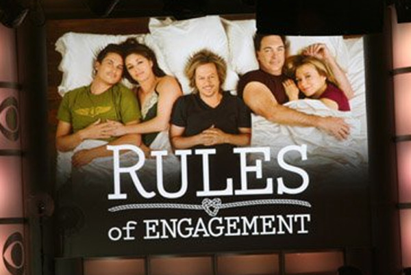 Still image of the cast from 'Rules of Engagement.'