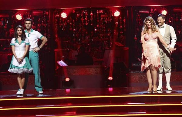 Reality star Melissa Rycroft and her partner Tony Dovolani await their fate alongside Kirstie Alley and Maksim Chmerkovskiy on 'Dancing With The Stars: The Results Show' on October 16, 2012.