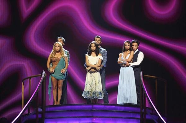Melissa Rycroft, Sabrina Bryan and Apolo Ohno appear in a still from 'Dancing With The Stars: All-Stars' on October 30, 2012.