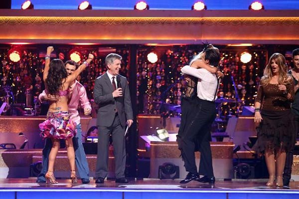 French actor Gilles Marini, his partner Peta Murgatroyd, Melissa Rycroft and her partner Tony Dovolani react to being safe from elimination on &#39;Dancing With The Stars: The Results Show&#39; on Tuesday, Oct. 9, 2012. <span class=meta>(ABC Photo)</span>