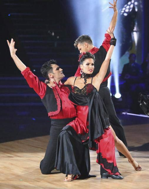Reality star Melissa Rycroft and her dance partners Tony Dovolani and Henry Byalikov received 30 out of 30 points from the judges 
