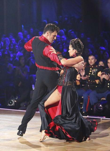 "<div class=""meta image-caption""><div class=""origin-logo origin-image ""><span></span></div><span class=""caption-text"">Reality star Melissa Rycroft and her dance partners Tony Dovolani and Henry Byalikov received 30 out of 30 points from the judges  for their Paso Doble on 'Dancing With The Stars: All-Stars,' which aired on November 12, 2012. (ABC / OTRC)</span></div>"