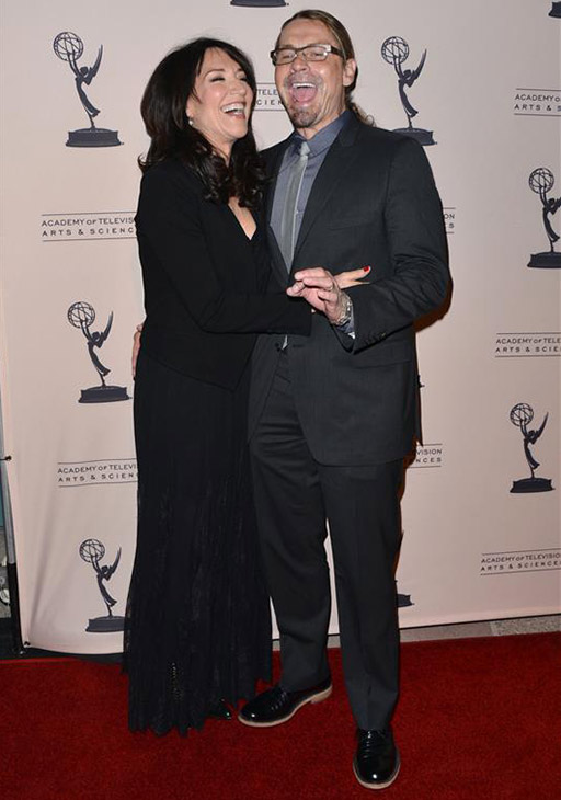 The time &#39;Sons of Anarchy&#39; star Katey Sagal &#40;Gemma&#41; and husband, show creator and actor Kurt Sutter &#40;he played Otto&#41; shared a laugh on the red carpet at the Television Academy&#39;s An Evening With &#39;Sons of Anarchy&#39; event at the Leonard H. Goldenson Theatre in North Hollywood, California on Oct. 25, 2013. <span class=meta>(Tony DiMaio &#47; Startraksphoto.com)</span>