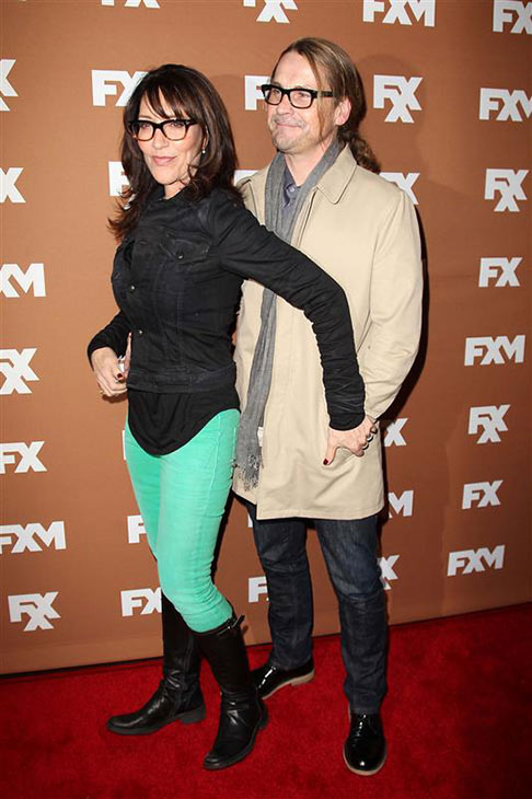 "<div class=""meta image-caption""><div class=""origin-logo origin-image ""><span></span></div><span class=""caption-text"">'Sons of Anarchy' actress Katey Sagal and husband, show creator and former co-star Kurt Sutter appear at the FX cable network's Upfronts 2013 event in New York on March 28, 2013. The two wed in September 2004. They have a daughter together and Sagal has a son and daughter from a previous marriage. (Kristina Bumphrey / Startraksphoto.com)</span></div>"