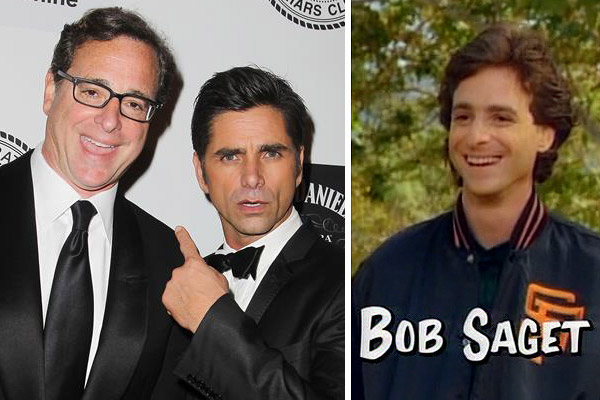 Bob Saget appears in a scene from the comedy series 'Full House.' / Bob Saget appears with John Stamos at a Friars Club event honoring comedian Don Rickles in New York on June 24, 2013.