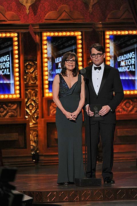 "<div class=""meta ""><span class=""caption-text "">Sally Field and Matthew Broderick present  Sally Field and Matthew Broderick present an award during the 2013 Tony Awards at Radio City Music Hall in New York City, Sunday, June 9.  Broderick is known for his work on Broadway including 'How to Succeed in Business Without Really Trying,' 'The Producers,' 'The Odd Couple,' 'The Philanthropist' and most recently 'Nice Work If You Can Get It.' Field appeared in the 2002 play, 'The Goat, or Who Is Silvia?' (CBS / Heather Wines)</span></div>"