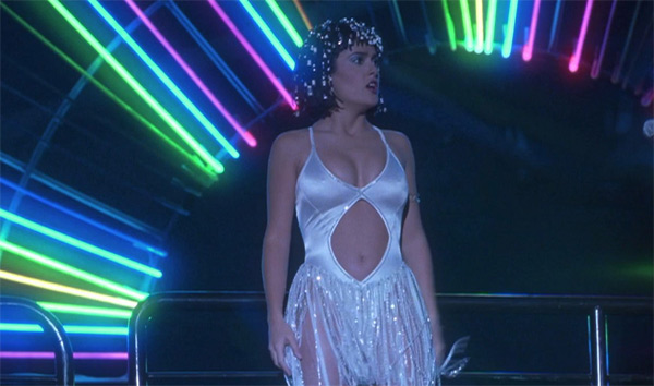 Salma Hayek appears in a scene from the 1998 party-themed film '54.'