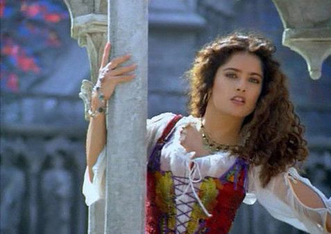 Salma Hayek appears as Esmeralda in a scene from the 1997 TNT TV movie 'The Hunchback,' which starred Mandy Patinkin ('The Princess Bride') as Quasimodo, the bell ringer of Notre Dame.