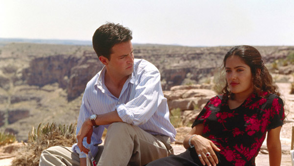 Salma Hayek and Matthew Perry appear in a scene from the 1997 movie 'Fools Rush In.'