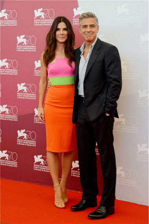 Sandra Bullock and George Clooney walk the red carpet at a photo call for the film &#39;Gravity&#39; at the 70th annual Venice International Film Festival on Aug. 27, 2013. <span class=meta>(Comi &#47; Terenghi &#47; Startraksphoto.com)</span>