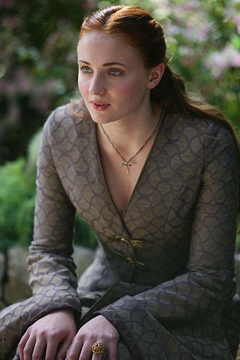 Sophie Turner appears as Sansa Stark in a scene from season 3 of the HBO show 'Game of Thrones.'