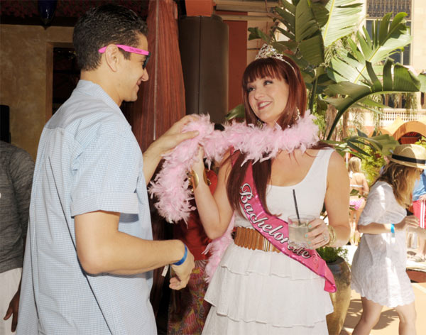 Sara Rue appears with her &#39;Man Maid&#39; Elias Madias at her bachelorette party at TAO Beach in Las Vegas on April 30, 2011. <span class=meta>(Denise Truscello)</span>