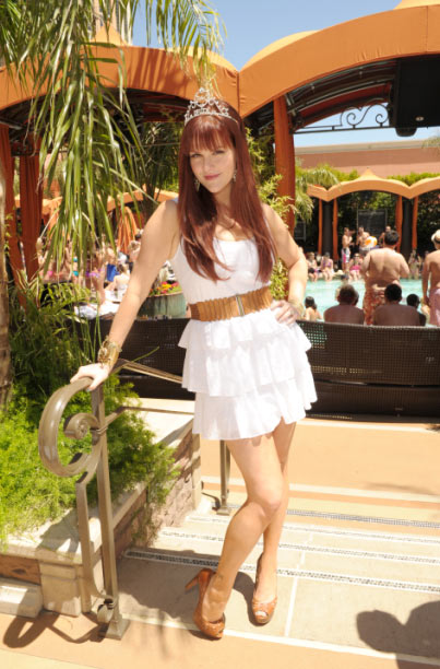 Sara Rue appears at her bachelorette party at TAO Beach in Las Vegas on April 30, 2011.