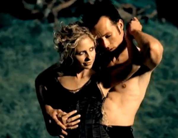 Sarah Michelle Geller appears in a scene from the 2006 music video 'Sour Girl' alongside lead singer Scott Weiland.