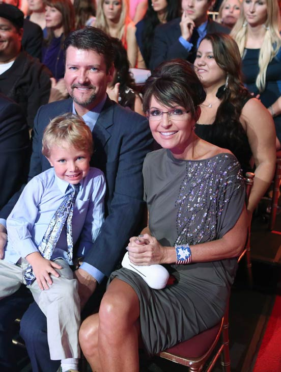 Contestant Bristol Palin&#39;s parents, Republican leader Sarah Palin and husband Todd Palin, and son Tripp attend the season premiere of &#39;Dancing With The Stars: All-Stars,&#39; which aired on September 24, 2012.  <span class=meta>(ABC &#47; Adam Taylor)</span>