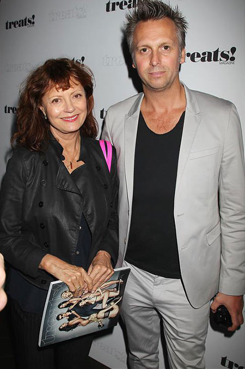 "<div class=""meta ""><span class=""caption-text "">Actress Susan Sarandon and celebrity photographer Steve Shaw appear at a release party for husband Robin Thicke's album 'Blurred Lines' held at the No. 8 nightclub in New York on Sept. 4, 2013. (Dave Allocca / Startraksphoto.com)</span></div>"