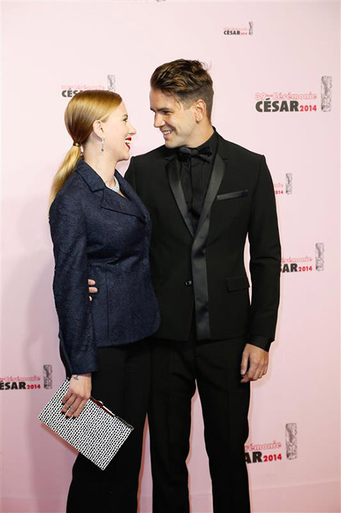"<div class=""meta ""><span class=""caption-text "">Scarlett Johansson and fiance Romain Dauriac appear at the Cesar Film Awards in Paris on Feb. 28, 2014. The actress received an honorary award for her film work. It was reported on March 3 that she is pregnant. This would be the actress' first child. (Bernard-Briquet-Orban / ABACA / Startraksphoto.com)</span></div>"