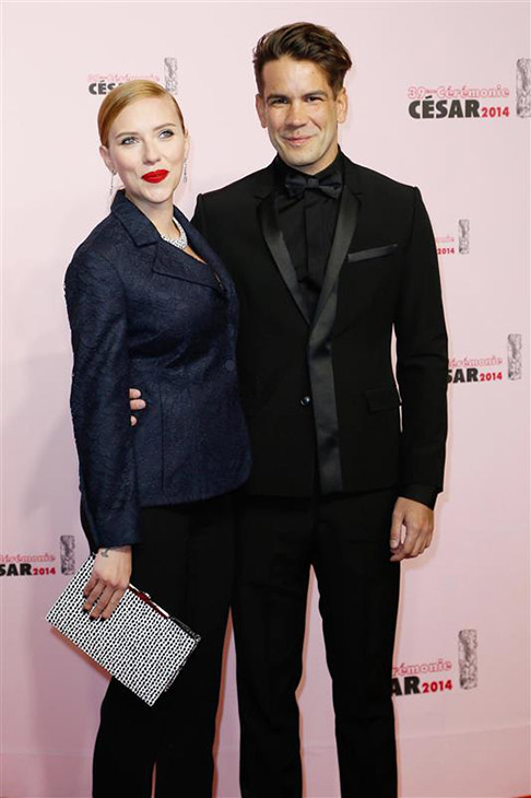 Scarlett Johansson and fiance Romain Dauriac appear at the Cesar Film Awards in Paris on Feb. 28, 2014. The actress received an honorary award for her film work. It was reported on March 3 that she is pregnant. This would be the actress&#39; first child. <span class=meta>(Bernard-Briquet-Orban &#47; ABACA &#47; Startraksphoto.com)</span>