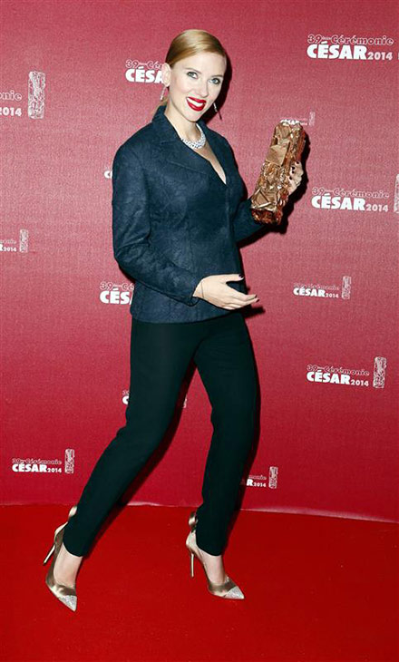 Scarlett Johansson holds her honorary Cesar Award at the Cesar Film Awards in Paris on Feb. 28, 2014. <span class=meta>(Franck Leguet &#47; ABACA &#47; Startraksphoto.com)</span>