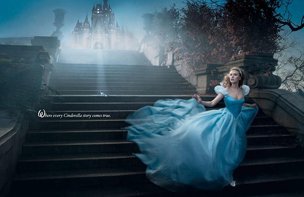 Scarlett Johansson plays Cinderella in Annie Leibowitz's Disney Dream Dream Portraits series.