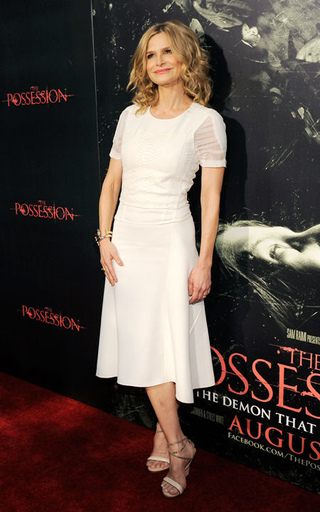 Kyra Sedgwick, a cast member in 'The Possession,' poses at the premiere of the film at Arclight Cinemas on Tuesday, Aug. 28, 2012, in Los Angeles.