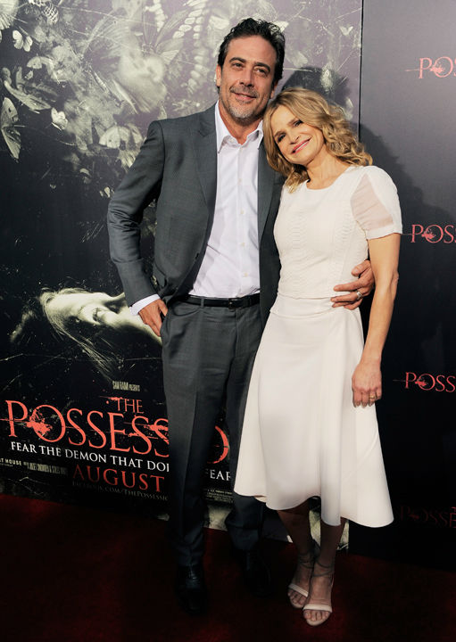Jeffrey Dean Morgan, left, and Kyra Sedgwick, cast members in 'The Possession,' pose together at the premiere of the film at Arclight Cinemas on Tuesday, Aug. 28, 2012, in Los Angeles.